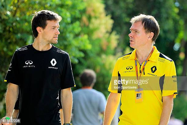 Jolyon Palmer of Renault Sport F1 Team with Alan Permane Renault Sport F1 Trackside Operations Director at the paddock of the Formula 1 Petronas...