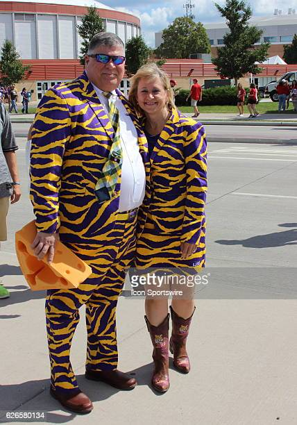 LSU fans dressed for the Lambeau Field College Classic during pregame festivities at Lambeau Field in Green Bay WI