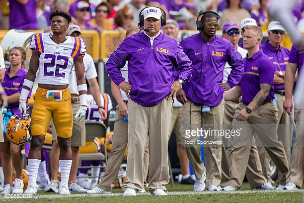 LSU Tigers Head Coach Les Miles in action as the Wisconsin Badgers defeat the 5th ranked LSU Tigers at the Lambeau Field College Classic at Lambeau...