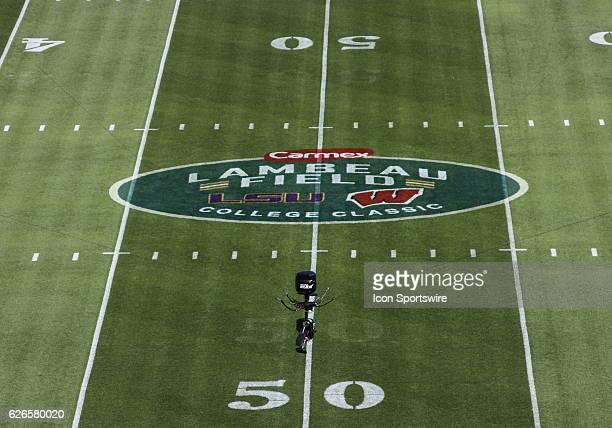 Midfield logo of Lambeau Field College Classic during pregame at Lambeau Field in Green Bay WI