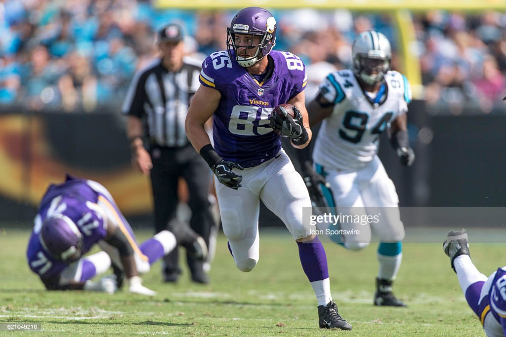 Minnesota Vikings Tight End Rhett Ellison (85) in game action between the Minnesota Vikings and the Carolina Panthers at Bank of America Stadium in Charlotte, NC.