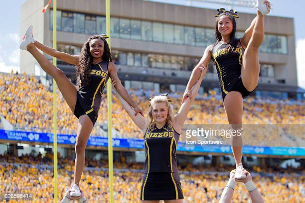 Missouri Tigers cheerleaders during the third quarter of the NCAA Football game between the Missouri Tigers and the West Virginia Mountaineers at...
