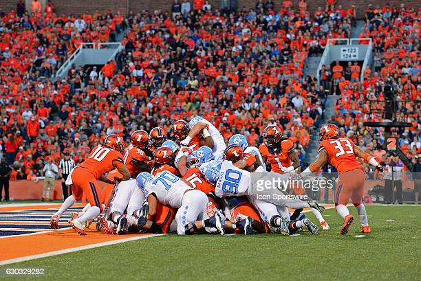 nc tries to punch the ball into the end zone during the game between the North Carolina Tar Heels and the Illinois Fighting Illini at Memorial...
