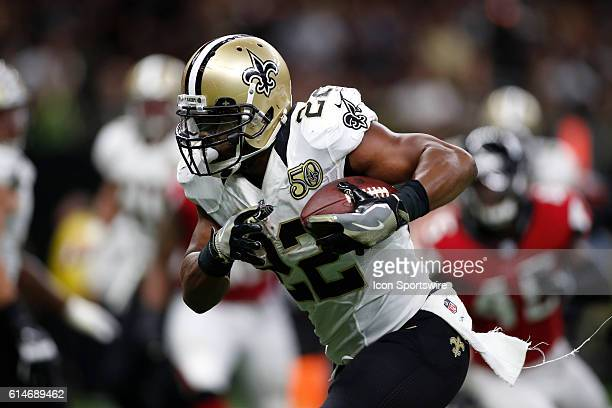 New Orleans Saints Running Back Mark Ingram runs the ball during a game against the Atlanta Falcons at the MercedesBenz Superdome in New Orleans LA