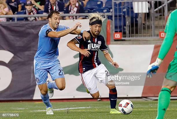 New York City FC defender RJ Allen tries to slow New England Revolution midfielder Lee Nguyen as he drives for the goal The New England Revolution...