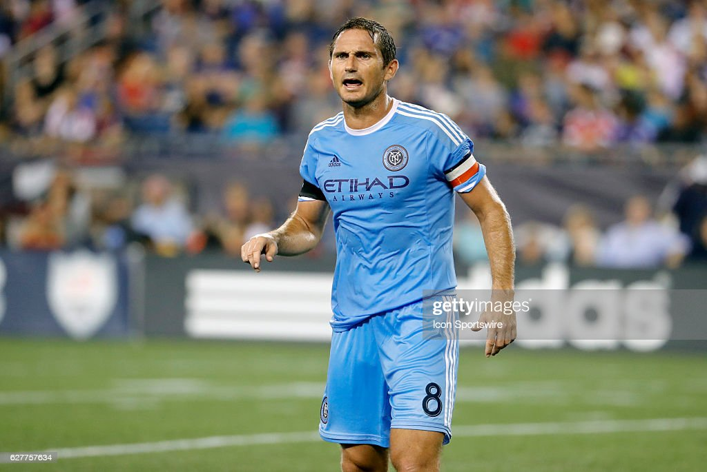 New York City FC midfielder Frank Lampard (8) yells directions to his teammates. The New England Revolution defeated New York City FC 3-1 in a regular season MLS match at Gillette Stadium in Foxborough, Massachusetts.