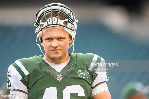 New York Jets long snapper Tanner Purdum warms up before the Preseason National Football League game between the New York Jets and the Philadelphia...
