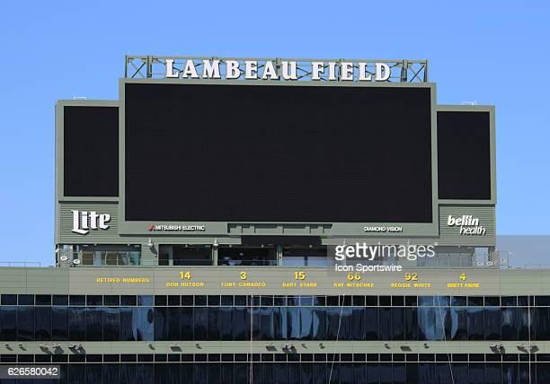 Photo of the Lambeau Field scoreboard during pregame in anticipation of the Lambeau Field College Classic at Lambeau Field in Green Bay WI