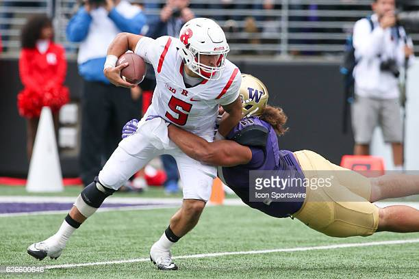 Rutgers quarterback Chris Laviano gets sacked for a loss by Washington's Elijah Qualls Washington defeated Rutgers 4813 at Husky Stadium in Seattle WA