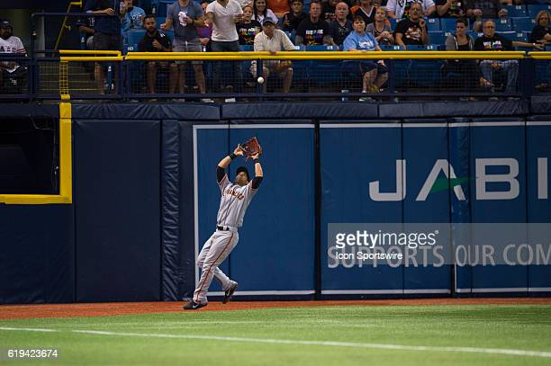 San Francisco Giants Left fielder Angel Pagan [5237] catches a deep fly ball during an MLB game between the San Francisco Giants and Tampa Bay Rays...