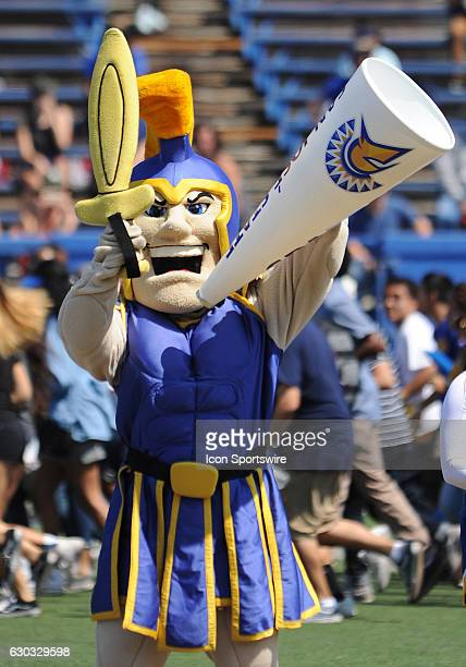 San Jose State Spartans mascot Sammy Spartan cheers on the Spartans before the start of a NCAA football game at CEFCU Stadium in San Jose CA