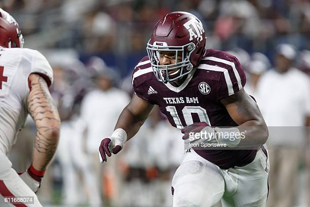 Texas AM Aggies defensive end Daeshon Hall during the Southwest Classic college football game between the Arkansas and Texas AM at ATT Stadium in...