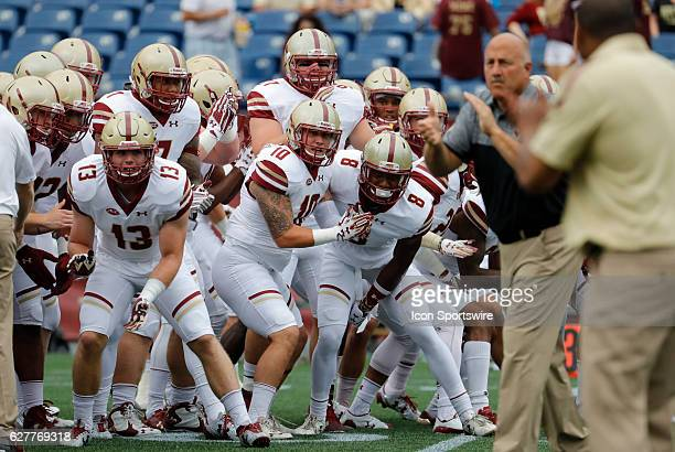 The Eagles keep their eye on Boston College head coach Steve Addazio during warm up The Boston College Eagles defeated the University of...