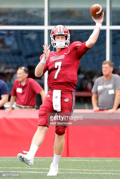 UMass quarterback Andrew Ford warms up The Boston College Eagles defeated the University of Massachusetts Minutemen 267 at Gillette Stadium in...