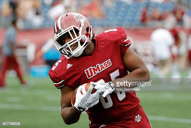 UMass tight end Avien Peah turns with the ball during warm up The Boston College Eagles defeated the University of Massachusetts Minutemen 267 at...