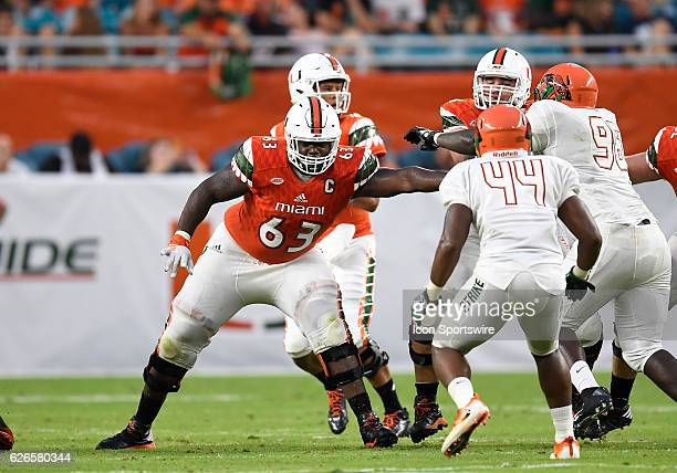 University of Miami offensive lineman Danny Isidora plays against Florida AM University in Miami's 703 victory at Hard Rock Stadium Miami Florida