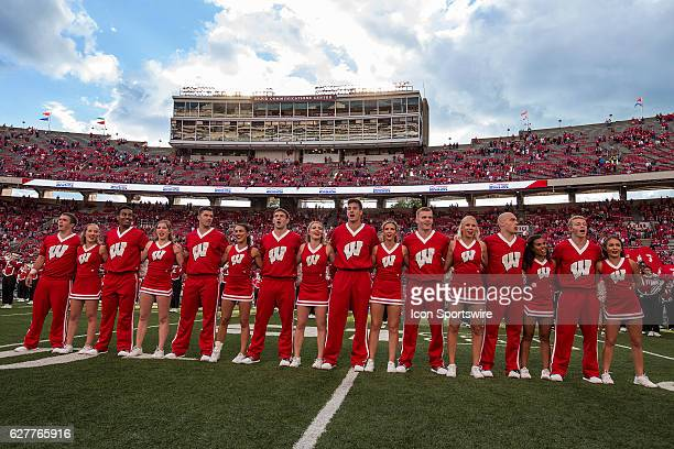 University of Wisconsin cheerleaders sing varsity during the 5th quarter after the 10th ranked Wisconsin Badgers defeat the Akron Zips at Camp...