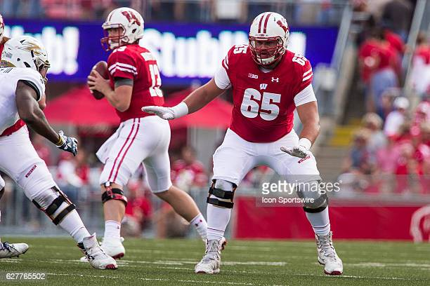 Wisconsin Badgers offensive lineman Ryan Ramczyk in action as the 10th ranked Wisconsin Badgers defeat the Akron Zips at Camp Randall Stadium in...