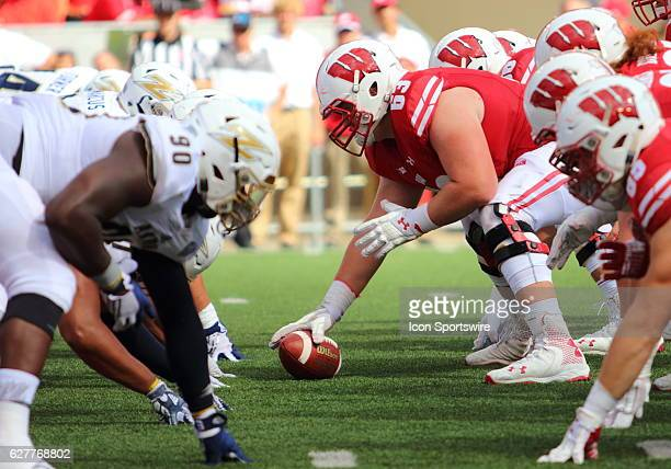 Wisconsin offensive lineman Michael Deiter ready to snap the ball during game action Wisconsin beat Akron by a final score of 5410 at Camp Randall...