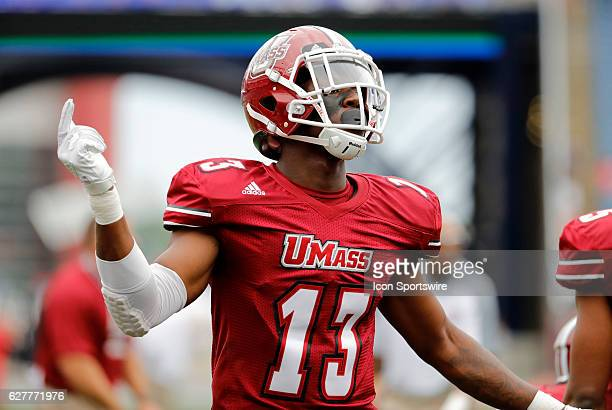 UMass linebacker James Bowe Jr warms up The Boston College Eagles defeated the University of Massachusetts Minutemen 267 at Gillette Stadium in...