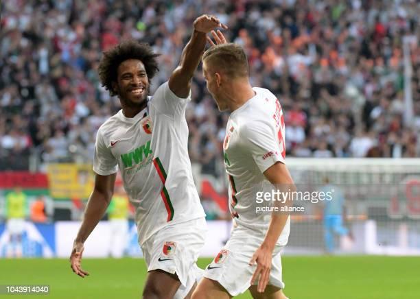 September 2018, Bavaria, Augsburg: Soccer: Bundesliga, FC Augsburg - SC Freiburg, 6th matchday in the WWK-ArenaK-Arena. Augsburg's killer Caiuby and...
