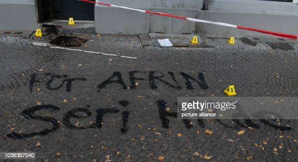 "September 2018, Berlin: ""For Afrin - seri hilde"" stands on the sidewalk in front of the office of a Turkish educational association on Reuterstraße..."