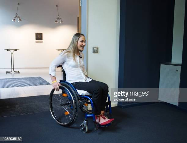 The paraplegic Olympic cycling champion Kristina Vogel comes to a press conference in a wheelchair at the Trauma Hospital BerlinMarzahn After a...