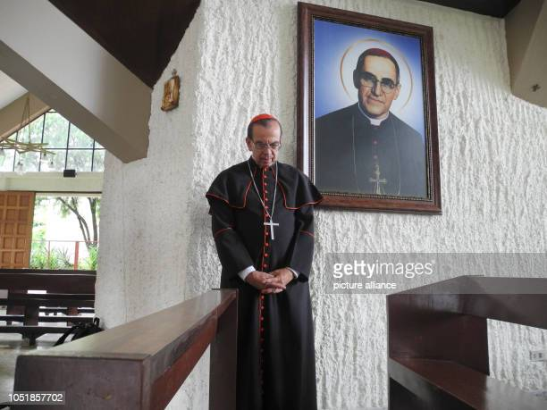 13 September 2018 El Salvador San Salvador 13 September 2018 El Salvador San Salvador Cardinal Rosa Chávez stands in front of a portrait of Óscar...