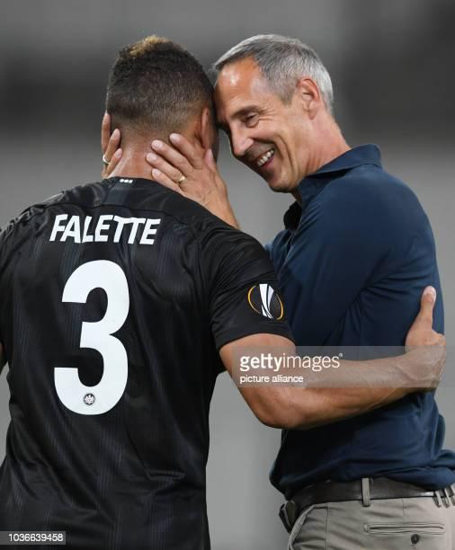 Soccer Europa League Olympique Marseille Eintracht Frankfurt Group stage Group H Matchday 1 at Stade Vélodrome Frankfurt's Simon Falette and head...