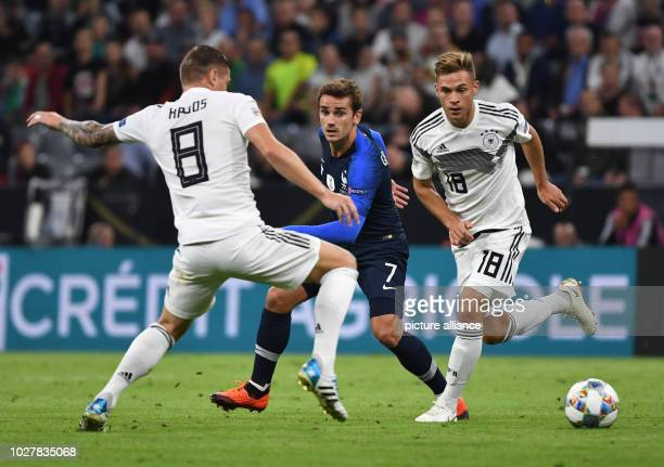 Soccer Nations League A Germany vs France Group stage Group 1 Matchday 1 Toni Kroos and Joshua Kimmich from Germany and Antoine Griezmann from France...