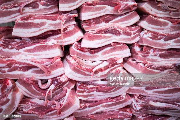 Hamburg A stack of pork belly can be seen in a cutting plant on the premises of the meat wholesale market On the occasion of its 25th birthday the...