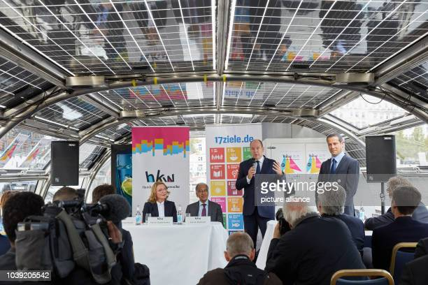 """September 2018, Hamburg: Prince Albert II of Monaco , speaking during a press conference on the solar ship """"Alstersonne"""" on Jungfernstieg. Claudia..."""