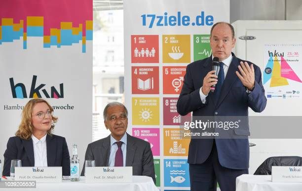 """September 2018, Hamburg: Prince Albert II of Monaco speaks during a press conference on the Climate Week on the solar ship """"Alstersonne"""" on..."""
