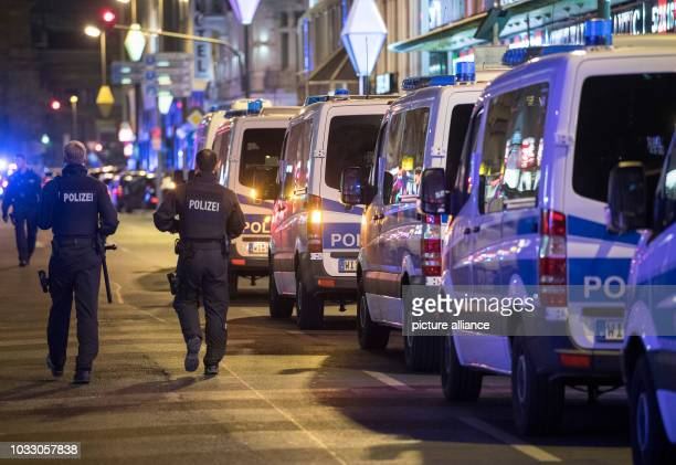 13 September 2018 Hessen Frankfurt_Main Several police cars on the Taunusstrasse According to police the largest raid to date in the station district...