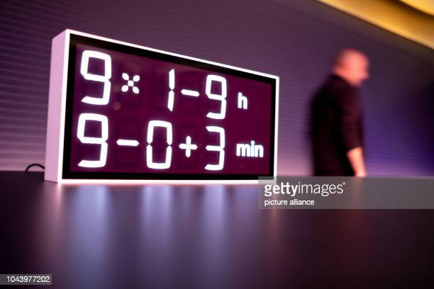 30 September 2018 Lower Saxony Wolfsburg A clock with a math problem the result of which is primeval time stands before the award ceremony of the...