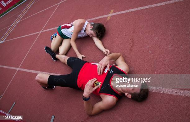 14 September 2018 Mexico Mexico City Modern pentathlon world championship men Alexander Nobis from Germany lies exhausted on the ground after taking...
