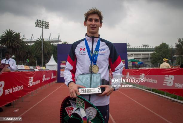Modern pentathlon world championship men James Cook from Great Britain celebrating placing first in the final of the modern pentathlon world...