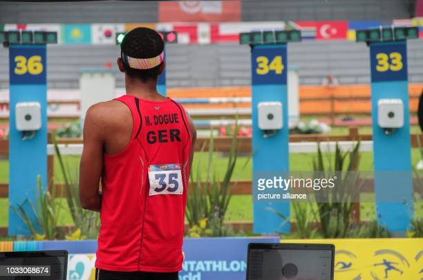 Modern pentathlon world championship men Marvin Dogue from Germany taking part in the final of the modern pentathlon world championships Photo...