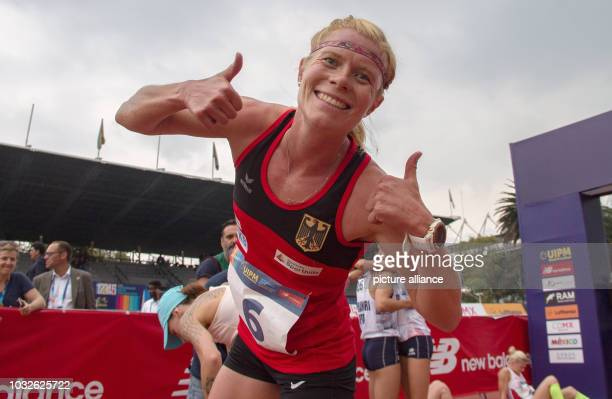 Modern pentathlon World Championship women Annika Schleu from Germany celebrates the silver medal at the finish of the crosscountry race The Berliner...