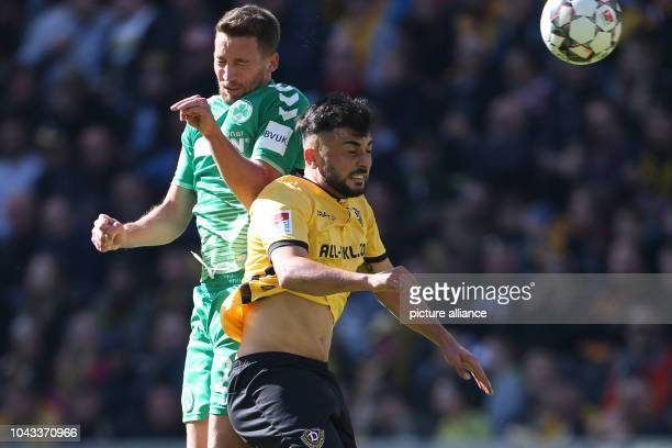 Soccer 2nd Bundesliga SG Dynamo Dresden SpVgg Greuther Fürth 8th matchday in Rudolf Harbig Stadium Dynamos Aias Aosman and Mario Maloca from Fürth in...