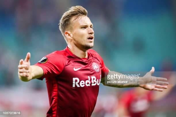 September 2018, Saxony, Leipzig: Soccer: Europa League, Group stage, Matchday 1: RB Leipzig - RB Salzburg. Salzburg's Fredrik Gulbrandsen cheers...