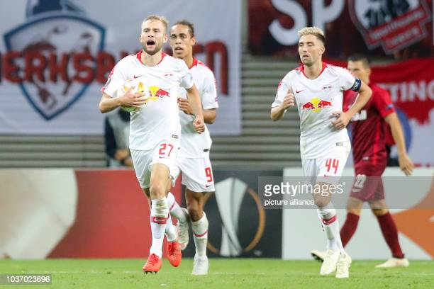 September 2018, Saxony, Leipzig: Soccer: Europa League, Group stage, Matchday 1: RB Leipzig - RB Salzburg. Leipzig's Konrad Laimer cheers after the...
