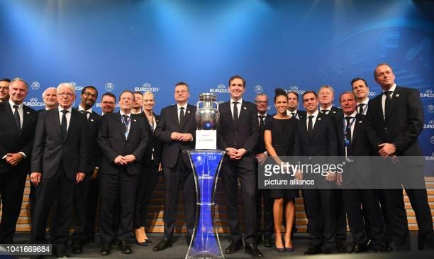 Football Announcement of the European Championship Host 2024 The German delegation with KarlHeinz Rummenigge DFL President Reinhard Rauball Rainer...