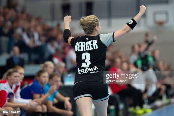 Handball women international Germany Russia in the Wiedigsburghalle Germany's Amelie Berger rejoices after scoring a goal Photo Swen Pförtner/dpa