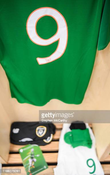 September 2019 A detailed view of the number 9 Republic of Ireland jersey hanging in their dressing room prior to the UEFA European U21 Championship...