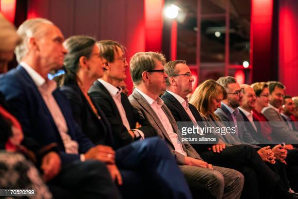 September 2019, Baden-Wuerttemberg, Ettlingen: The candidates for the party presidency Dierk Hirschel , Nina Scheer, Karl Lauterbach, Ralf Stegner,...