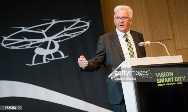 """September 2019, Baden-Wuerttemberg, Stuttgart: Under the motto """"Urban Mobility"""", Winfried Kretschmann , Prime Minister of Baden-Württemberg, talks..."""