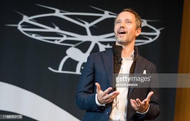 "September 2019, Baden-Wuerttemberg, Stuttgart: Under the motto ""Urban Mobility"", Florian Reuter, Volocopter Managing Director, talks about his..."