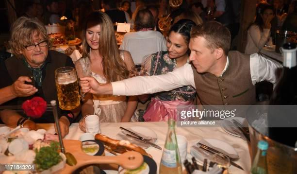September 2019, Bavaria, Munich: Media Manager Martin Krug , his girlfriend Martina Nicia , comedian Oliver Pocher and his girlfriend Amira Aly...