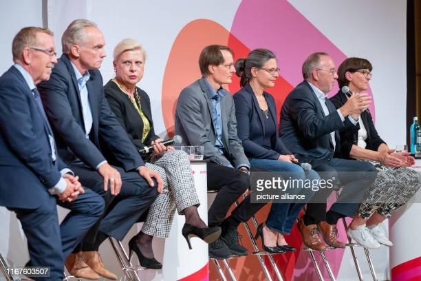 September 2019, Bavaria, Nuremberg: Karl-Heinz Brunner , Dierk Hirschel, Hilde Mattheis, Karl Lauterbach, Nina Scheer, Norbert Walter-Borjans and...